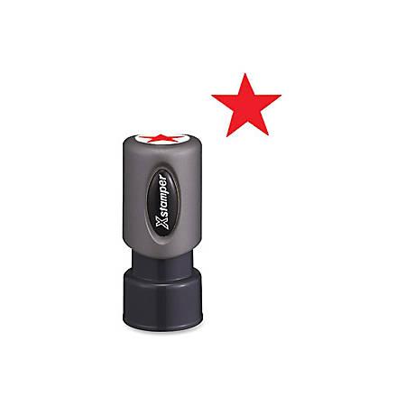 "Xstamper Pre-Inked Star Shape Stamp - Design Stamp - ""STAR"" - 0.63"" Impression Diameter - Red - Plastic Cap - Recycled - 1 Each"