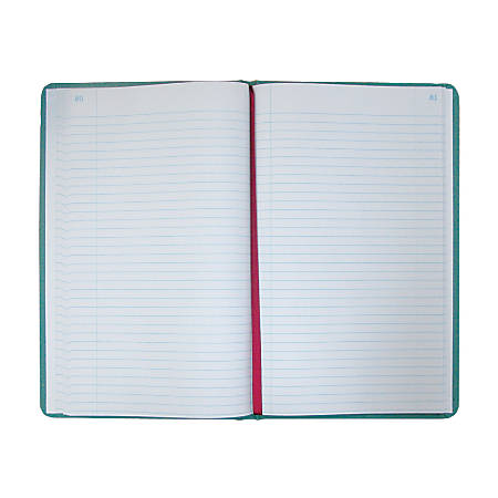 "National® Brand Sewn Canvas Account Book, 12 1/8"" x 7 5/8"", 50% Recycled, Green, 37 Lines Per Page, Book Of 150 Pages"