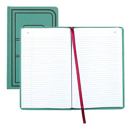 "National® Brand Sewn Canvas Account Book, 12 1/8"" x 7 5/8"", 50% Recycled, Green, 37 Lines Per Page, Book Of 500 Pages"