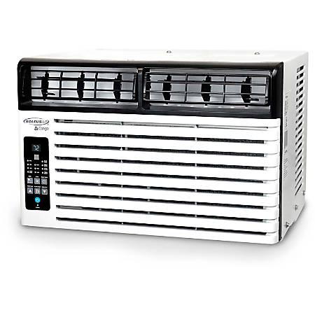 "SoleusAir Window-Mounted Air Conditioner, 6,400 BTU, 115V, 12 5/8""H x 15 1/2""W x 18 5/8""D, White/Black"