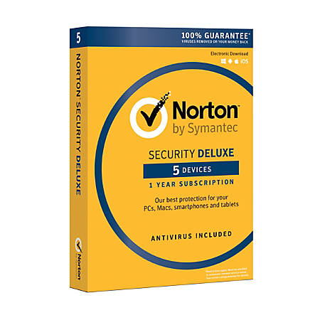 Norton™ Security Deluxe, For 5 PC/Apple® Mac®/Android/iOS Devices, Product Key Card
