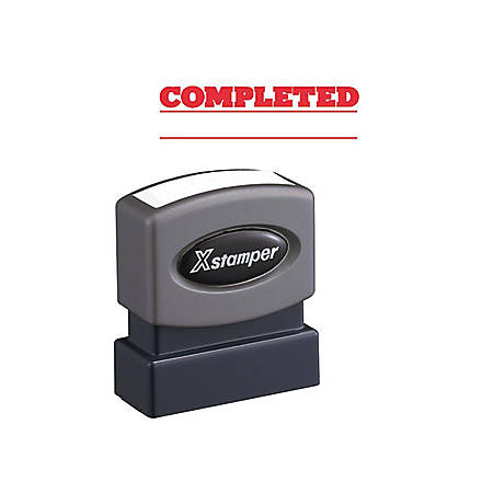 "Xstamper COMPLETED Stamp - Message Stamp - ""COMPLETED"" - 0.50"" Impression Width x 1.63"" Impression Length - 100000 Impression(s) - Red - Recycled - 1 Each"