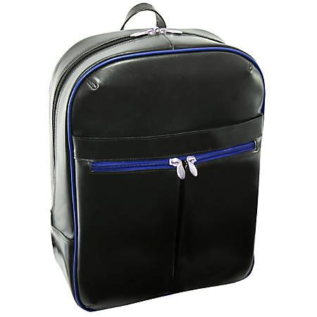McKleinUSA Avalon L Series Leather Slim Laptop Backpack, Black/Navy Trim