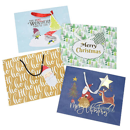 "Gartner™ Studios Large Holiday Gift Bags, Whimsy, 10""H x 12""W x 5""D, Assorted Colors, Pack Of 4 Bags"
