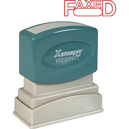"Xstamper® One-Color Title Stamp, Pre-Inked, ""Faxed"", Red"