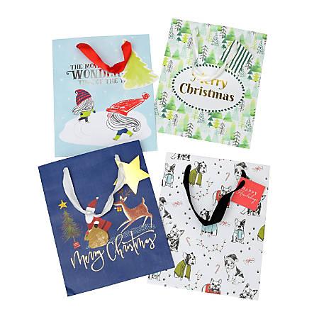 "Gartner™ Studios Medium Holiday Gift Bags, 10""H x 8""W x 5""D, Whimsy, Pack Of 4 Bags"
