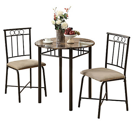 Monarch Specialties Owen Dining Table With 2 Chairs Cappuccino Bronze Item 9114132