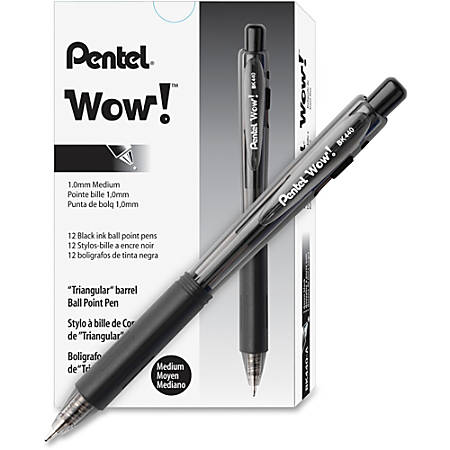 Pentel WOW! Retractable Ballpoint Pens - Medium Pen Point - Refillable - Black - Transparent Barrel - 36 / Pack