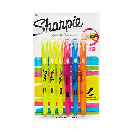 Sharpie® Accent® Pocket Highlighters, Assorted, Pack Of 6