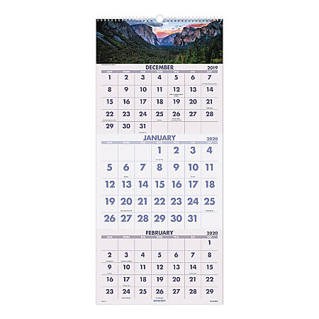 """AT-A-GLANCE® Scenic 14-Month Wall Calendar, 12"""" x 27"""", December 2019 To January 2021, DMW50328"""