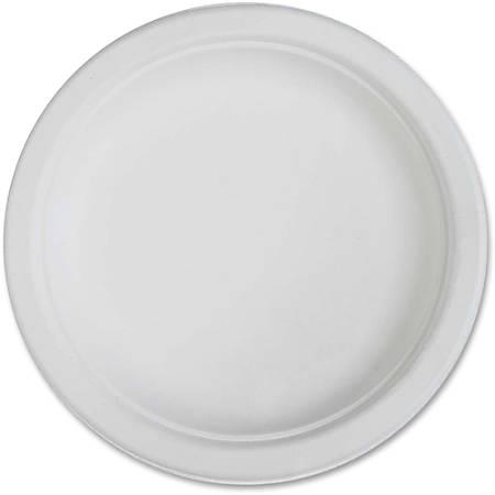 "Genuine Joe Compostable Plates - 6"" Diameter Plate - Disposable - White - 50 Piece(s) / Pack"