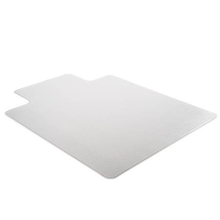 "Deflect-O Earth Source® Chair Mat For Commercial Pile Carpets, Beveled Edge, Wide Lip, 45"" x 53"", Clear"