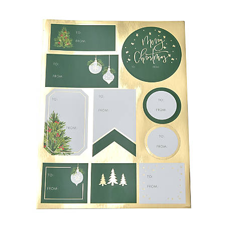 """Gartner™ Studios Holiday Label Tags, 45952, 9-3/4"""" x 6"""", Green/Gold, Pack Of 120 Tags"""