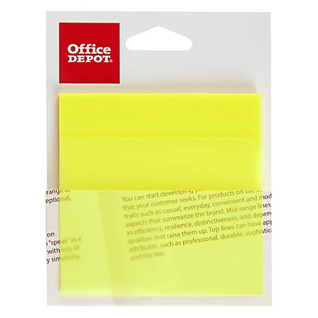 "Office Depot® Brand Translucent Self-Stick Notes, 3"" x 3"", Yellow, 50 Notes Per Pad"