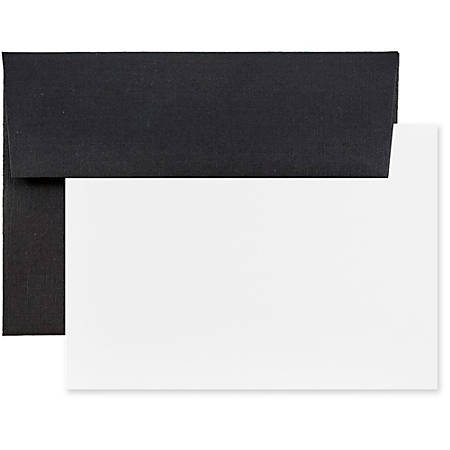 """JAM Paper® Stationery Set, 5 1/4"""" x 7 1/4"""", 30% Recycled, Set Of 25 White Cards And 25 Black Envelopes"""