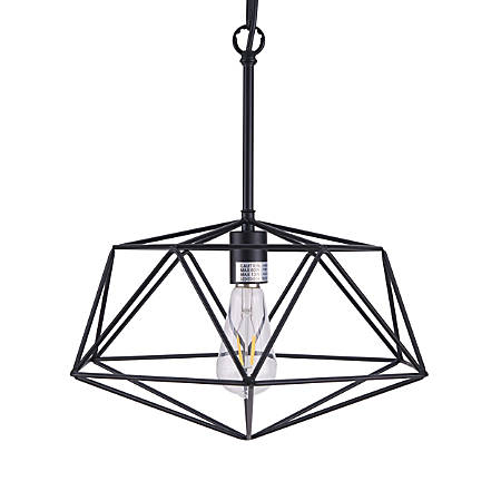 "Southern Enterprises Brava Geometric Pendant Lamp, 17-1/2""H, Black"
