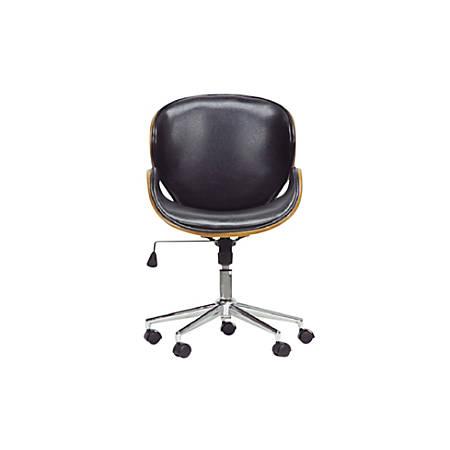 Baxton Studio Johann Faux Leather Mid-Back Office Chair, Black/Walnut