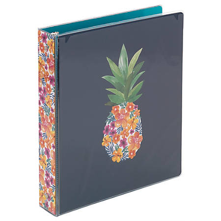 "Office Depot Brand Fashion Binder, 1 1/2"" Rings, Pineapple"