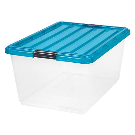 "IRIS® Buckle-Down Plastic Storage Box, 44 Qt, 21 3/4""H x 15 3/4""W x 10 5/8""L, Clear/Blue"