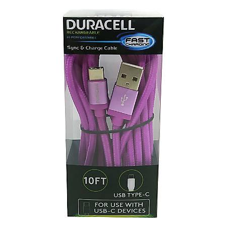 Duracell® USB Type-C Cable, 10', Purple, LE2316