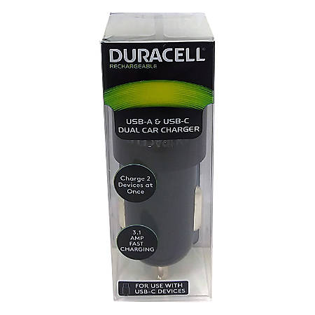 Duracell® Dual Car Charger, Black, LE2318