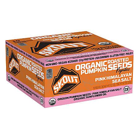 Skout Backcountry Organic Roasted Pink Himalayan Sea Salt Pumpkin Seeds, 1.1 Oz, Box Of 10 Pouches
