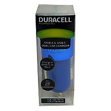 Duracell Dual Car Charger Blue LE2320