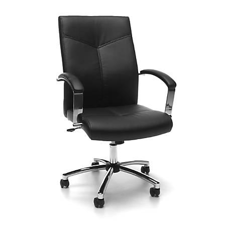 OFM Essentials Vinyl Mid-Back Conference Chair, Black/Chrome