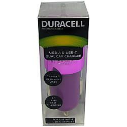 Duracell Dual Car Charger Purple LE2321