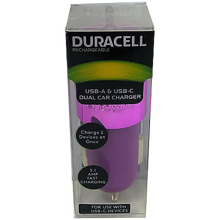 Duracell® Dual Car Charger, Purple, LE2321