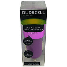 Duracell Dual Car Charger Purple LE2321