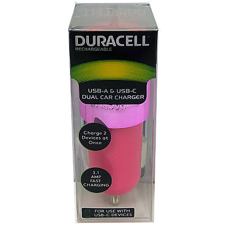 Duracell® Dual Car Charger, Pink, LE2322