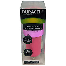 Duracell Dual Car Charger Pink LE2322