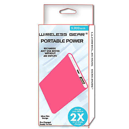 Wireless Gear 5,000 mAh Power Bank, Pink, G0583
