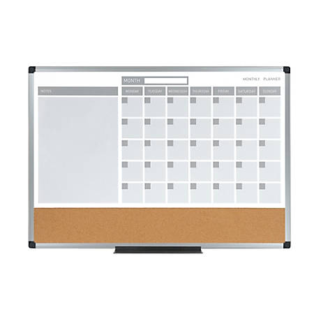 "MasterVision® 3-In-1 Cork Planner Board, 24"" x 36"", Aluminum, Plastic Frame"