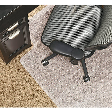 """Realspace® Economy Chair Mat For Low-Pile Carpets, 36""""W x 48""""D, Studded, Standard Lip, Clear"""