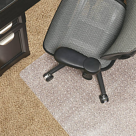 """Realspace® Berber Studded Chair Mat For Low-Pile Carpets, 46""""W x 60""""D, Clear"""