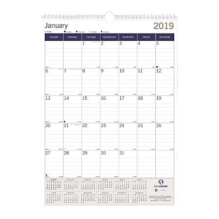"Blueline® DuraGlobe™ Monthly Wall Calendar, 12"" x 17"", FSC Certified, White, January to December 2019"