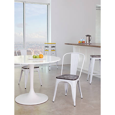 Office Star™ Bristow Armless Chairs with Wood Seats, Ash Crazy Horse/White, Set Of 4 Chairs