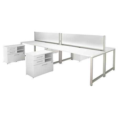 """Bush Business Furniture 400 Series 4 Person Workstation With Table Desks And Storage, 72""""W x 30""""D, White, Standard Delivery"""