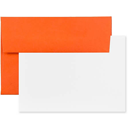 "JAM Paper® Stationery Set, 4 3/4"" x 6 1/2"", 30% Recycled, Orange/White, Set Of 25 Cards And Envelopes"