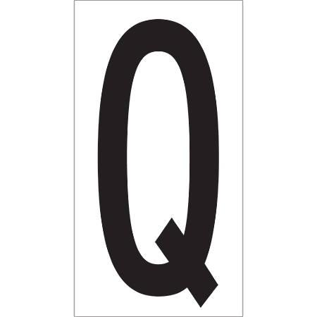 """Office Depot® Brand Vinyl Warehouse Labels, DL9310Q, Letter Q, 3 1/2"""", Black/White, Case Of 50"""