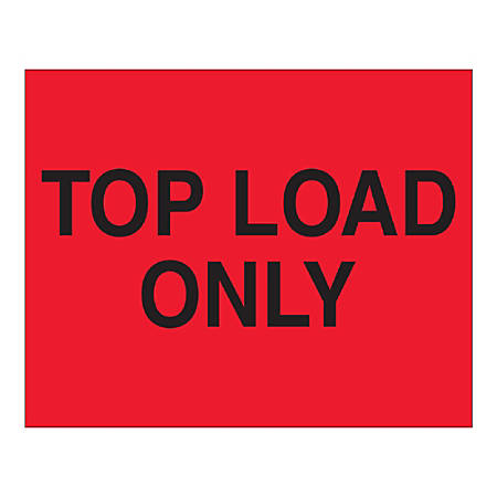 "Tape Logic Top Labels, ""Top Load Only"", Rectangular, DL1634, 8"" x 10"", Fluorescent Red, Roll Of 250 Labels"