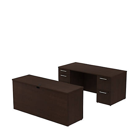 "Bush Business Furniture 300 Series Office Desk With Credenza And Storage, 66""W x 30""D, Mocha Cherry, Premium Installation"