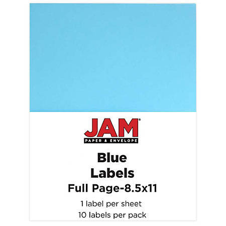 "JAM Paper® Full-Page Mailing And Shipping Labels, 337628605, 8 1/2"" x 11"", Blue, Pack Of 10"
