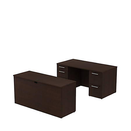 "Bush Business Furniture 300 Series Office Desk With Credenza And Storage, 60""W x 30""D, Mocha Cherry, Standard Delivery"