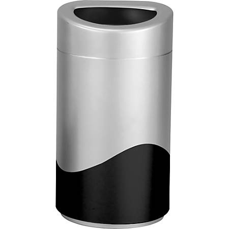 "Safco Open Top Receptacle - 14 gal Capacity - Oval - Powder Coated - 29"" Height x 16"" Width x 16"" Depth - Steel, Vinyl - Silver, Black"