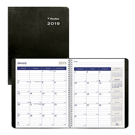 "Blueline® DuraGlobe™ 14-Month Monthly Planner, 8 7/8"" x 7 1/8"", FSC Certified, Black, December 2018 to January 2020"