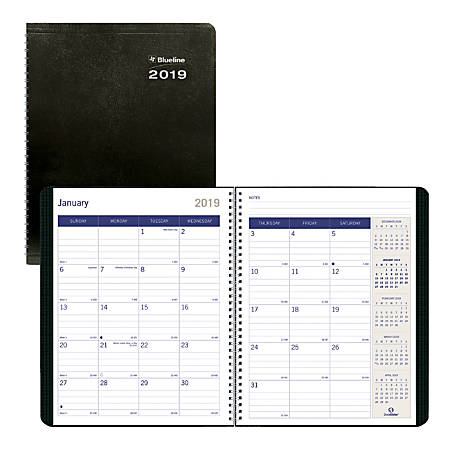 "Blueline® DuraGlobe™ 14-Month Monthly Planner, 8 1/2"" x 11"", FSC Certified, Black, December 2018 to January 2020"