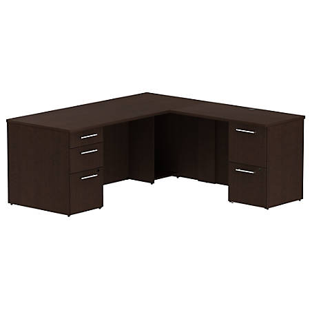 "Bush Business Furniture 300 Series L Shaped Desk With 2 Pedestals 72""W x 30""D, Mocha Cherry, Standard Delivery"
